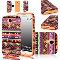 E LV Tribal Design 2 in 1 Hard and Soft Hybrid Armor Combo Case for Samsung Galaxy S4 S IV i9500 (Samsung Galaxy S4, Orange)
