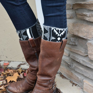Buy 2 get 1 FREE-Knee High Socks-Boot Cuffs-Leg Warmers-Knee High Socks-Nordic Style Black and White