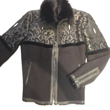 Hoss Couture Men's Jet Black Fox Stingray Mouton Shearling Jacket