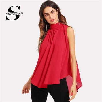 Sheinside Mock Neck Pleated Front High Low Top Summer Stand Collar Sleeveless Chiffon Blouse Women Red Asymmetrical Top