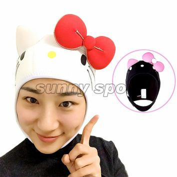 submersible cap cartoon diving hat swimming cap thermal snorkeling wigs gift 4mm Diving helmet  kitty diving hat Lovely
