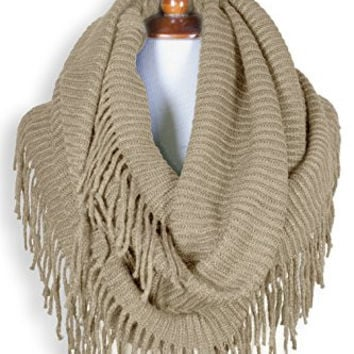 Basico Women Winter Warm Knit Infinity Scarf Tassels Soft Shawl