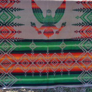 Vintage Pendleton Beaver State Native American Design Wool Blanket With Eagle Motif