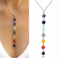 "7 Chakra Reiki Beads Healing Gemstone Charms Pendant Yoga Balancing Necklace Lapis/Turquoise/Amethyst Crystal/Jade (Size: 18 "", Color: Multicolor)"