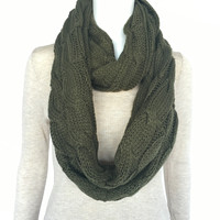 Winter Relief Knit Infinity Scarf In Olive