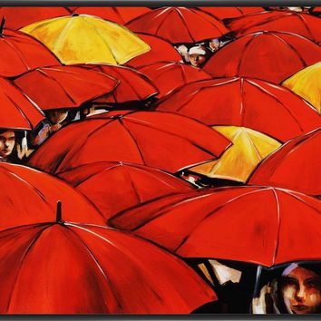 RED UMBRELLA 22L X 28H Floater Framed Art Giclee Wrapped Canvas