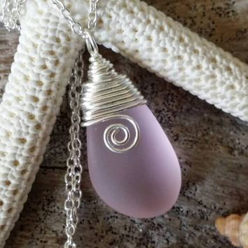 Handmade in Hawaii, Wire wrapped pink sea glass necklace, sterling silver chain, Sea glass jewelry, Summer beach glass jewelry