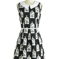 ModCloth Mid-length Sleeveless A-line All Eyes on Unique Dress in Birdcage