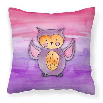 Pink and Purple Owl Watercolor Fabric Decorative Pillow BB7428PW1818