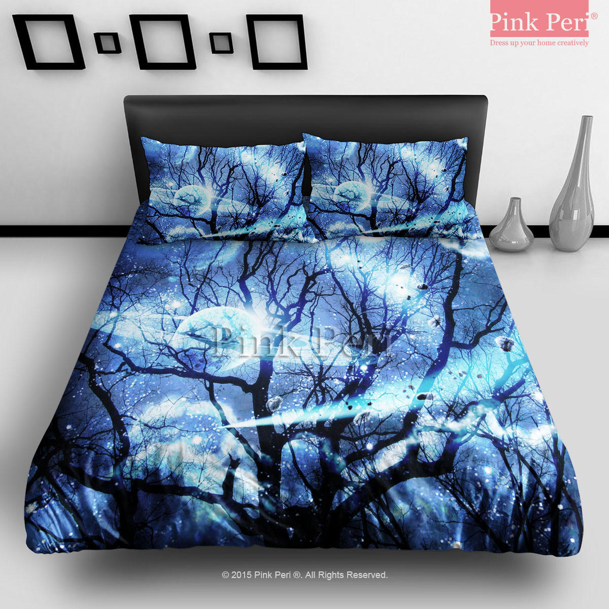 Woods Silhouette Blue Nebula Galaxy From Pink Peri