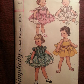 Complete 1950's Simplicity Sewing Pattern, 2020! Size 2 Toddler Girls/Full Flare Ruffle Dress/Collared Dress/Short Puffy Sleeves/Pinafore