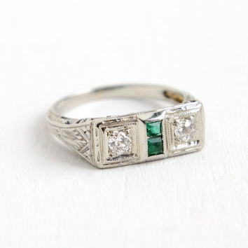 Antique 18K White Gold Diamond and Simulated Emerald Ring - Vintage Art Deco 1930s Size 4 1/2 Filigree Engagement Fine Jewelry