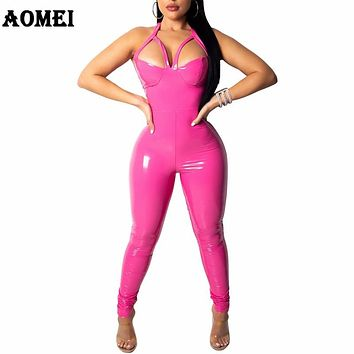 Women Overall Jumpsuit Sexy PU Sleeveless Slim Halter Clubwear Backless Night Party Faux Leather Femme PVC Tight Bodycon Clothes