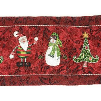 Tache Here Comes Santa Claus Vintage Holiday Woven Tapestry Table Runners (8577TR)