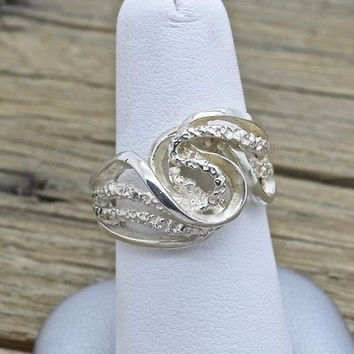 Estate Sterling Silver Ring With Filigree Design Handmade 925 Jewelry