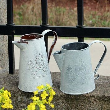 ONETOW Watering Cans Flowers Bucket Metal Barrel Vases Vintage Zakka Style Home Gardening Ornaments Retro Metal Craft Artificial Holder