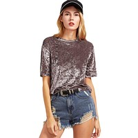 Taupe Crushed Velvet T-shirt