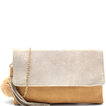 Tassel Flap Clutch Bag With Pom Pom