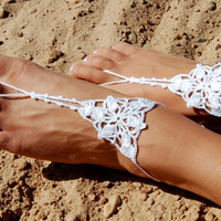 Crochet Barefoot Sandals, Beach Wedding Shoes