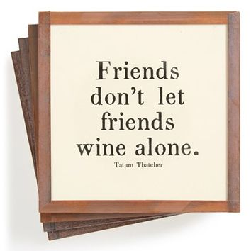 Ben's Garden 'Don't Let Friends Wine Alone' Coasters (Set of 4)