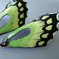 Green Butterfly Wing Earrings Extra Large by OxOriginalArtJewelry