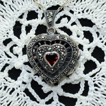 Vintage Sterling Silver Heart Shaped Garnet and Marcasite Heart Locket Necklace