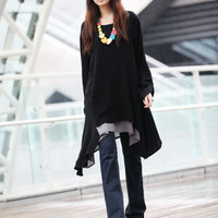 Lagenlook Black Ethnic New Design Long Sleeve Loose Fitting Shirt Coat - NC220