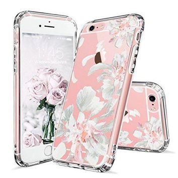 DCCKV2S iPhone 6 Case, iPhone 6s Case Clear, MOSNOVO White Floral Flower Petal Pattern Printed Clear Design Transparent Plastic Hard Back with TPU Bumper Gel Protective Cover for Apple iPhone 6 6s (4.7 Inch)