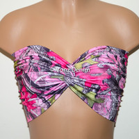 NEW Pink, Grey & Green Camo Bandeau Top, Swimwear Bikini Top, Twisted Top Bathing Suits, Spandex Bandeau Bikini