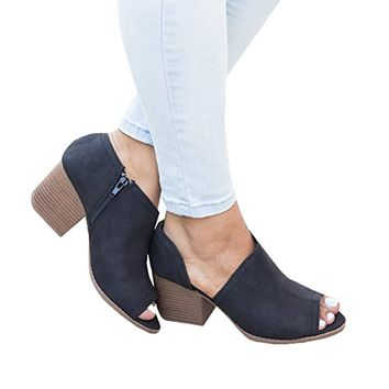 Women Slip On Fashion Cut Out Peep Toe Chunky Block Stacked Low Heel Ankle Booties