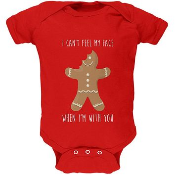 Christmas Gingerbread Man Can't Feel My Face Soft Baby One Piece