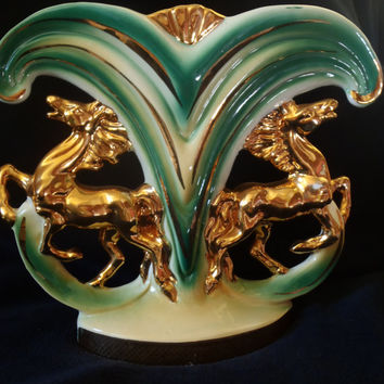 Horse Vase in Italian Porcelain Green White and Gold , Equestrian Deco Vintage