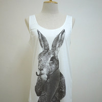 The Detective Rabbit : Rabbit Bunny Smart Cigar Pipe Animal Style Tank  Women T-Shirt White T-Shirt Tunic Screen Print