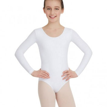 Child Long Sleeve Leotard (White) TB134C