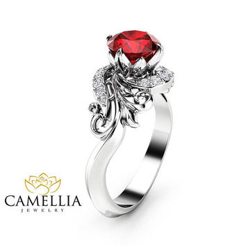 Natural Ruby Engagement Ring 14K White Gold Ring Ruby Petal Engagement Ring