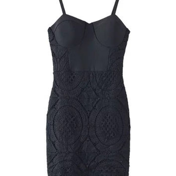 Black Padded Cups Cut Out Lace Bodycon Dress