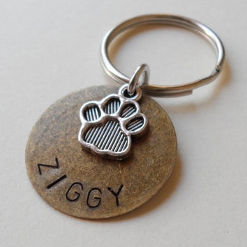 Paw Print Keychain, Remembrance Keychain, Dog Name Keychain, Pet Memorial Keychain, Hand Stamped Name, Customized Keychain Gift, Bronze Tag,