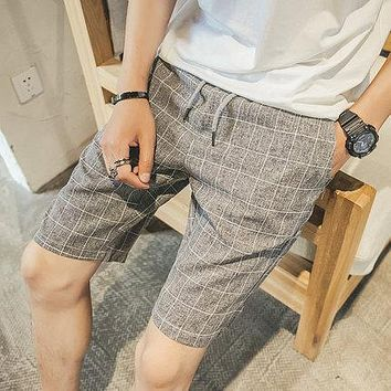 New Fashion Mens Linen Shorts 2017 Summer Brand Men Shorts Homme Stylish Plaid Casual Beach Shorts Men Short Pants