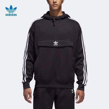 ONETOW Adidas Fashion Casual Long Sleeve Stripe Hoodie Pullover Sweater