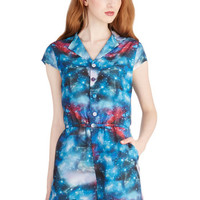 ModCloth Cosmic Cap Sleeves Material Galaxy Romper