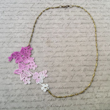 Floral Ombre Lace Necklace, Pink Lace Necklace, Asymmetrical Necklace, Hand Painted Ombre Necklace, Romantic Jewelry