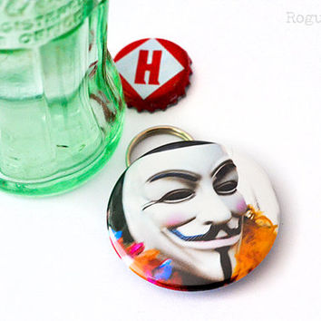 Guy Fawkes Bottle Opener Keychain Combo - Occupy Protestor Mask Bottle Opener - V for Vandetta Keychain