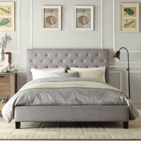 Oxford Creek Evelyn Gray Linen Tufted Queen-Size Platform Bed