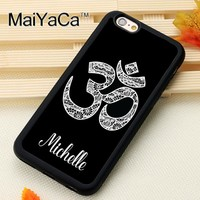 Om Symbol Yoga Custom Name Printed Soft Rubber Phone Cases Accessories For iPhone 6 6S Plus 7 7 Plus 5 5S 5C SE 4 4S Cover Shell