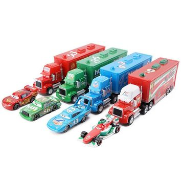 Disney Pixar Cars 2 3 Lightning McQueen King F1 Uncle Cargo Truck Diecast Alloy Cars Model Children's Day Gift Toy For Kid Boy