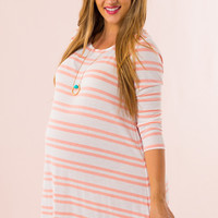 WEB EXCLUSIVE: On The Road Maternity Dress in Peach