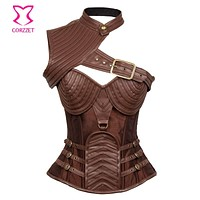 Brown Leather Armor Corset Sexy Gothic Cosplay Corsets And Bustiers