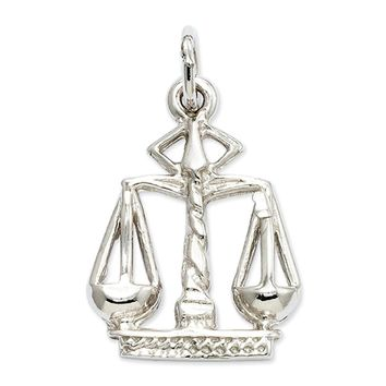 14k White Gold Small Scales of Justice Charm