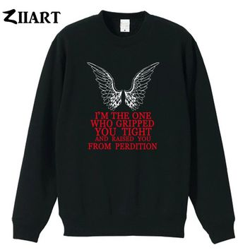 Castiel supernatural i'm the one who gripped you tight and raised you from perdition you from  boys man male fleece Sweatshirt