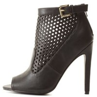 Black Cut-Out Peep Toe Booties by Charlotte Russe
